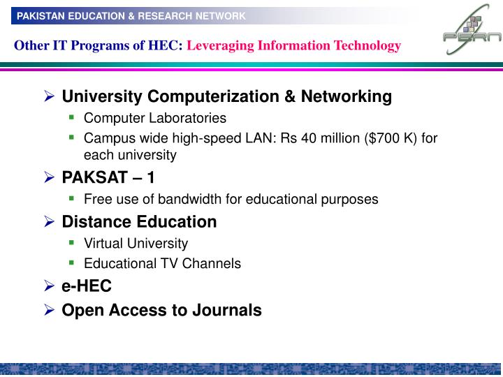 Other IT Programs of HEC: