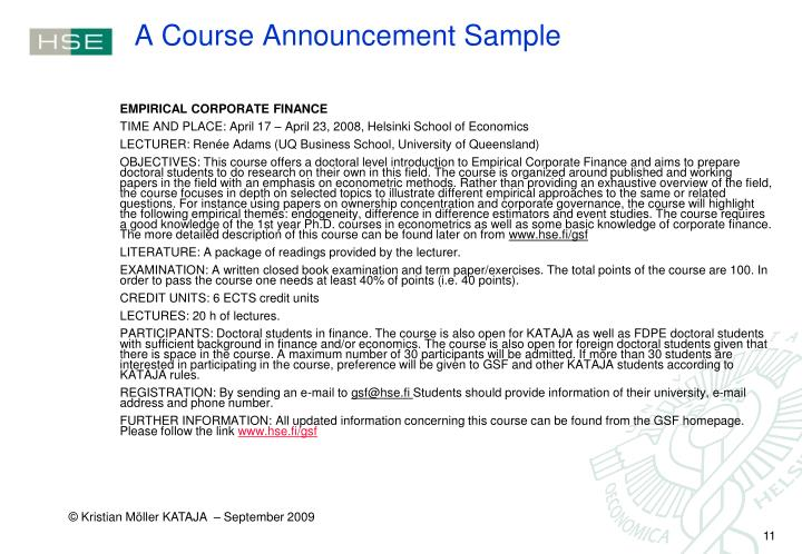 A Course Announcement Sample