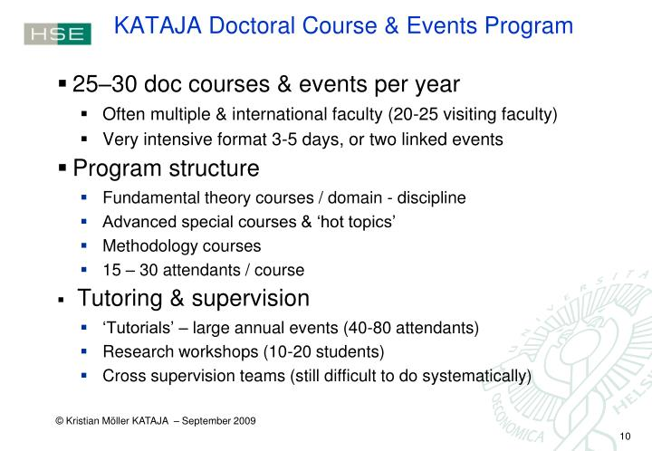 KATAJA Doctoral Course & Events Program