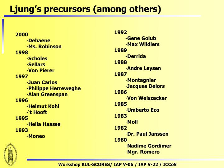 Ljung's precursors (among others)