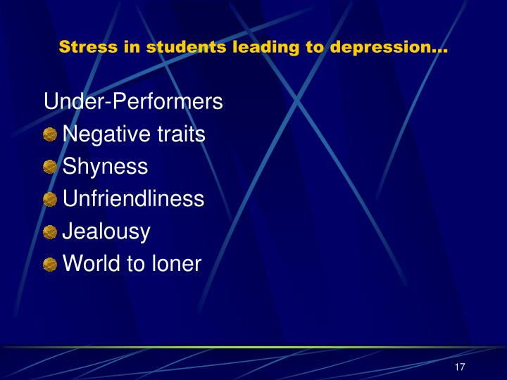 Stress in students leading to depression…