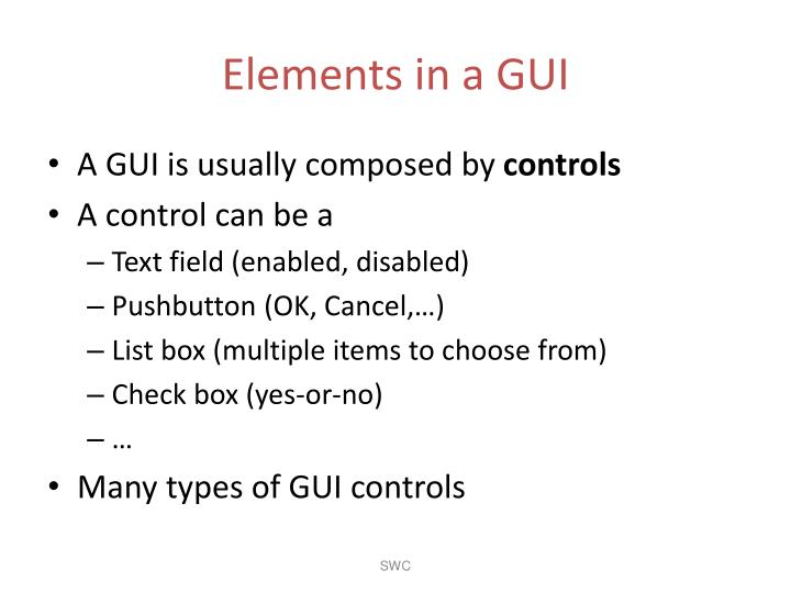 Elements in a GUI