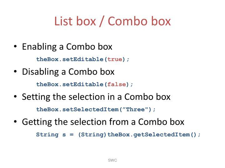 List box / Combo box