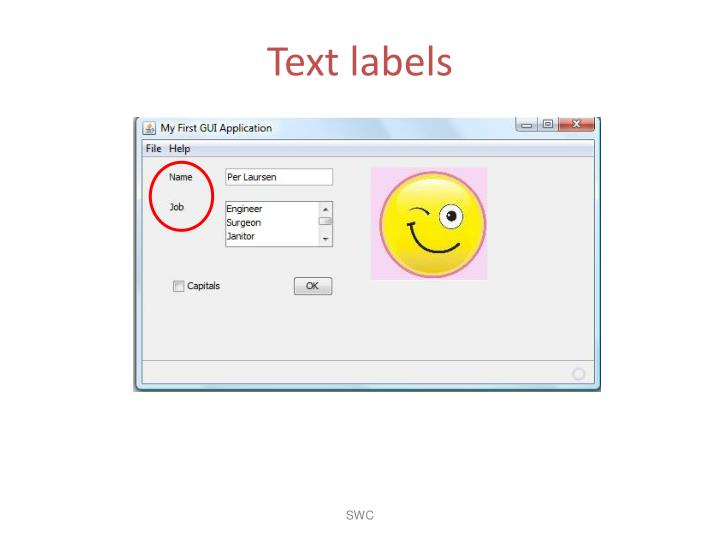 Text labels
