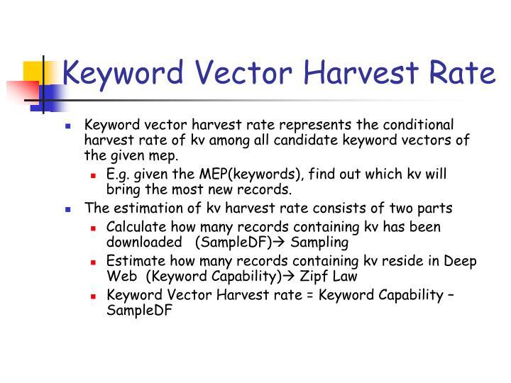 Keyword Vector Harvest Rate
