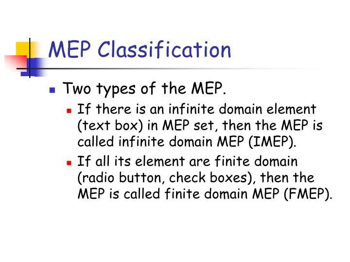 MEP Classification