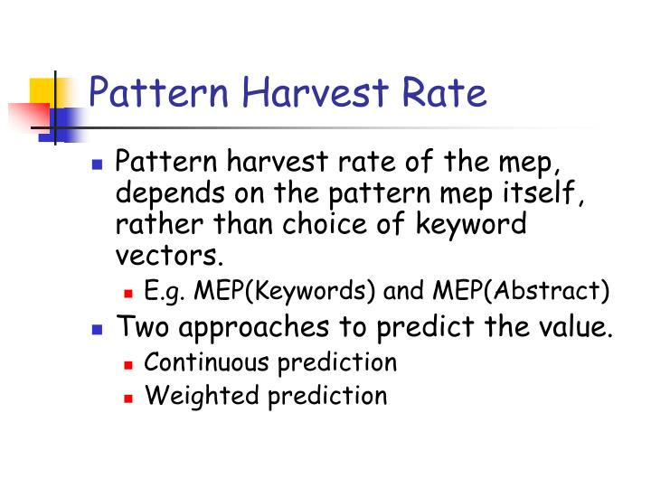 Pattern Harvest Rate