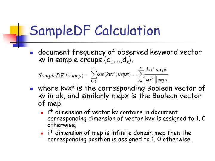 SampleDF Calculation