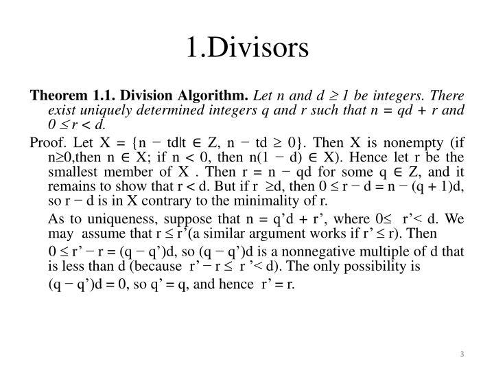 1.Divisors