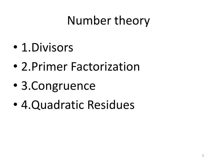 Number theory1
