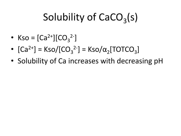 Solubility of CaCO