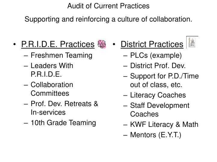 P.R.I.D.E. Practices