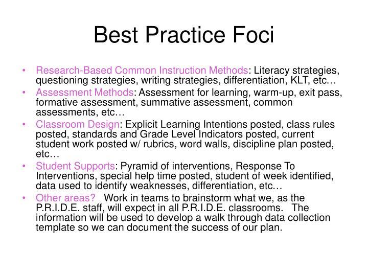 Best Practice Foci