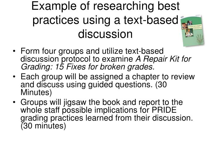 Example of researching best practices using a text-based discussion