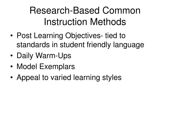 Research-Based Common Instruction Methods