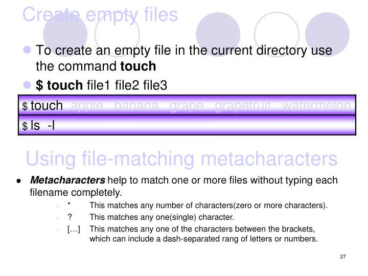 Create empty files