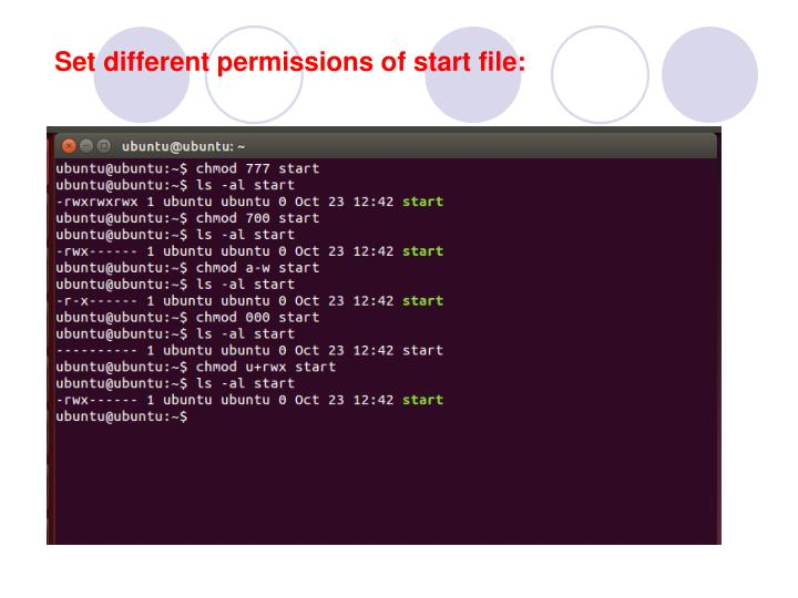 Set different permissions of start file: