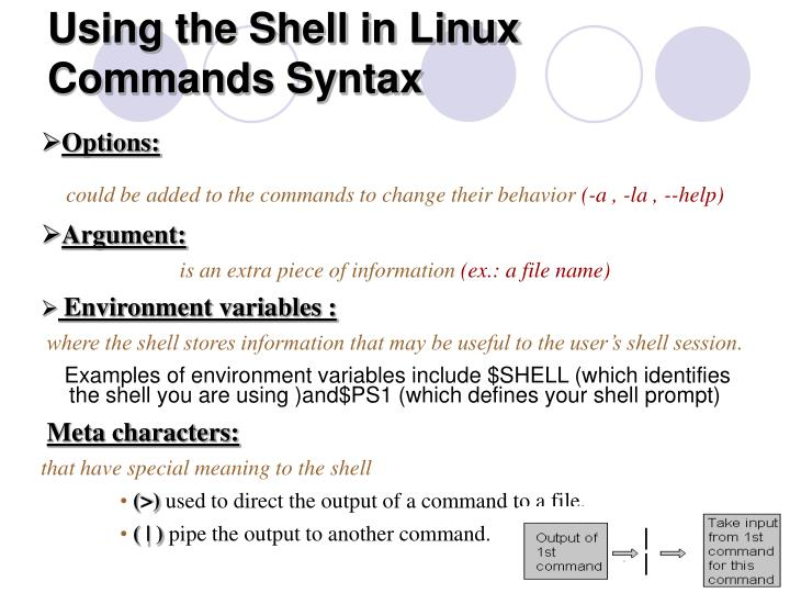 Using the shell in linux commands syntax
