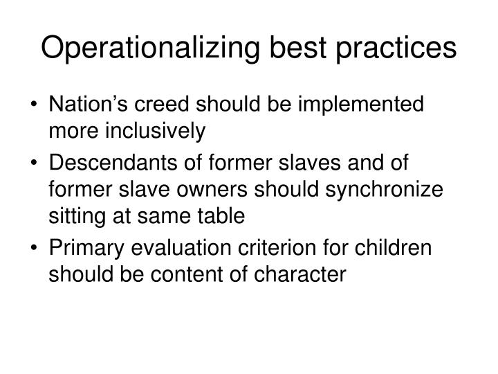 Operationalizing best practices