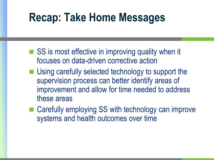 Recap: Take Home Messages