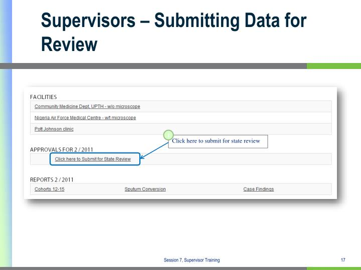 Supervisors – Submitting Data for Review