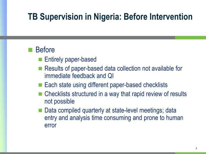 TB Supervision in Nigeria: Before Intervention