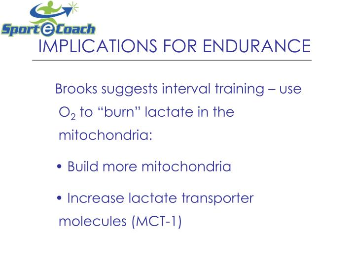 IMPLICATIONS FOR ENDURANCE
