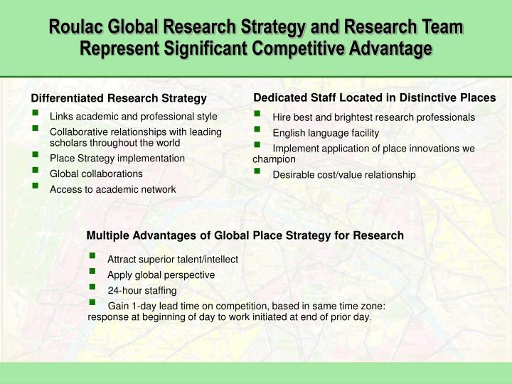 Roulac global research strategy and research team represent significant competitive advantage