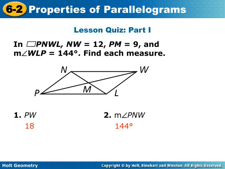 Lesson Quiz: Part I