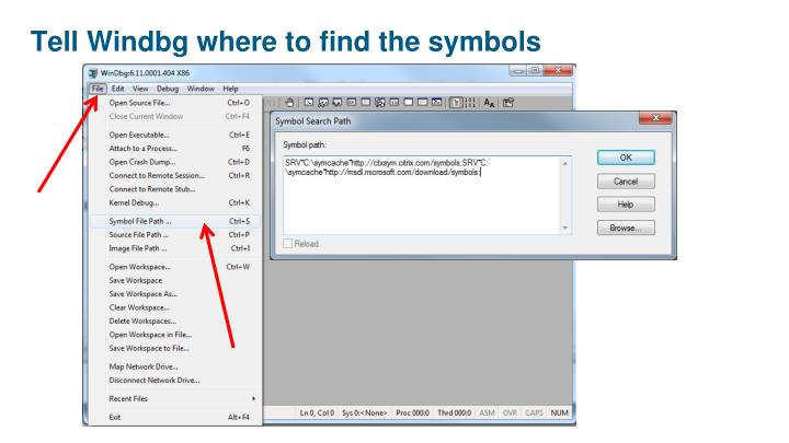 Tell Windbg where to find the symbols