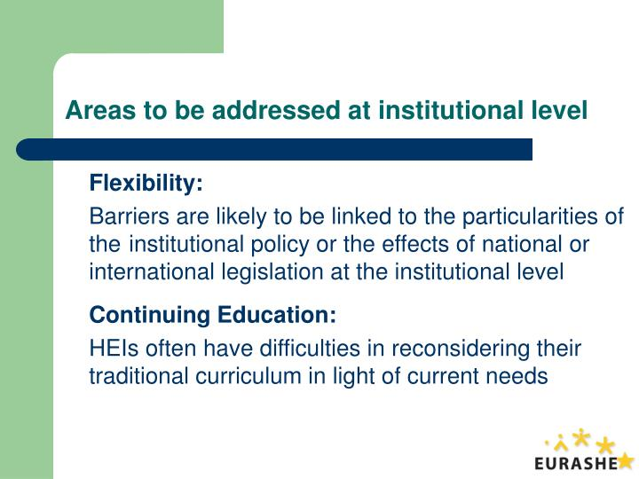Areas to be addressed at institutional level
