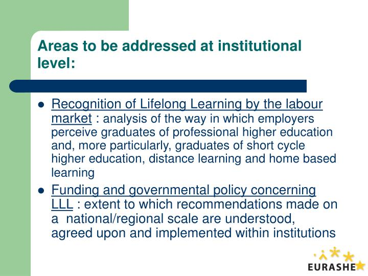 Areas to be addressed at institutional level: