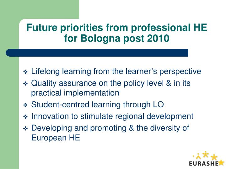 Future priorities from professional he for bologna post 2010