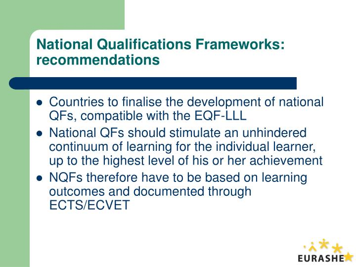 National Qualifications Frameworks: recommendations