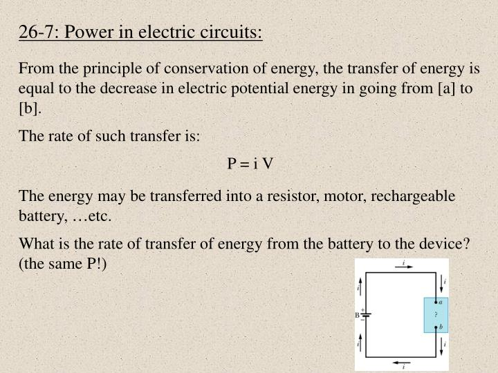 26-7: Power in electric circuits: