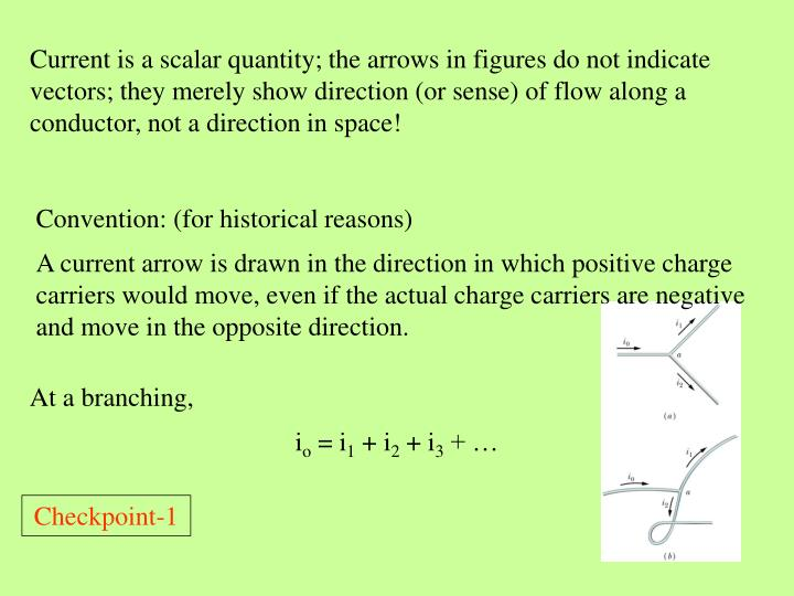 Current is a scalar quantity; the arrows in figures do not indicate vectors; they merely show direction (or sense) of flow along a conductor, not a direction in space!