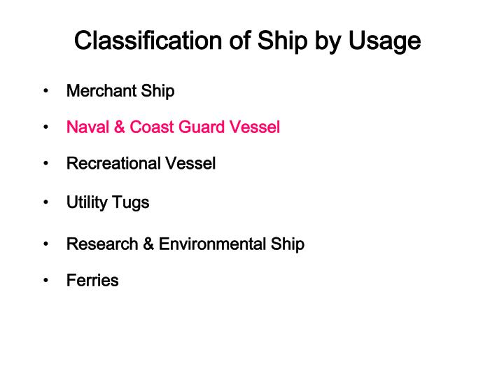 Classification of Ship by Usage