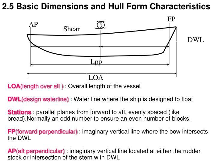 2.5 Basic Dimensions and Hull Form Characteristics