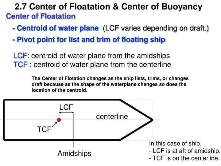 2.7 Center of Floatation & Center of Buoyancy