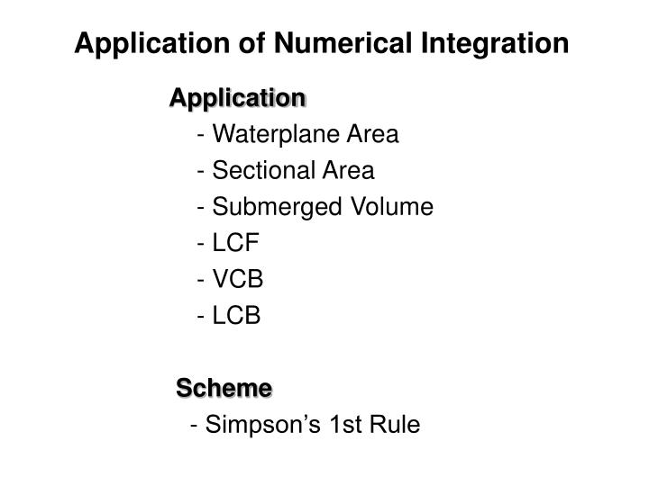 Application of Numerical Integration