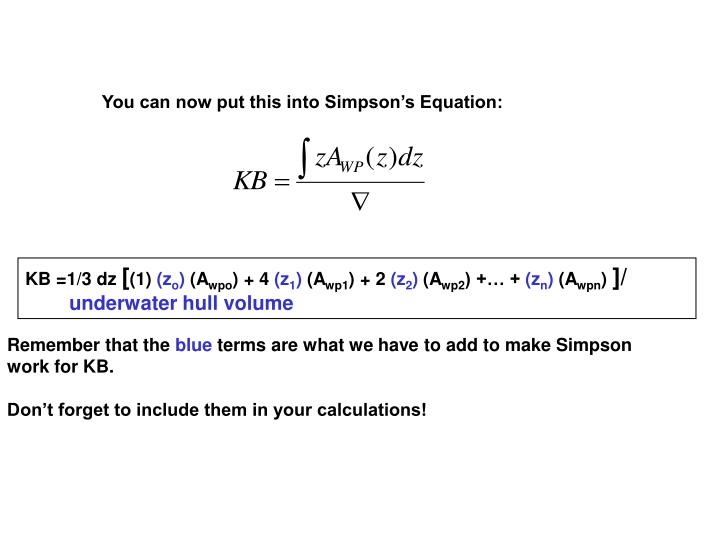 You can now put this into Simpson's Equation: