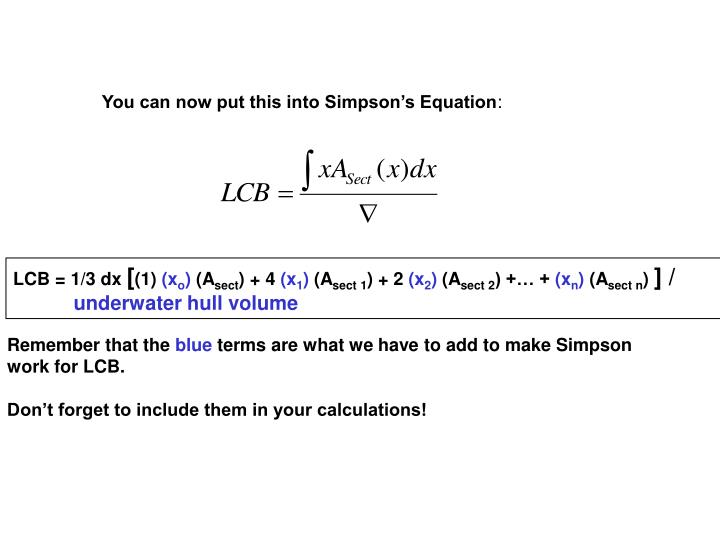 You can now put this into Simpson's Equation