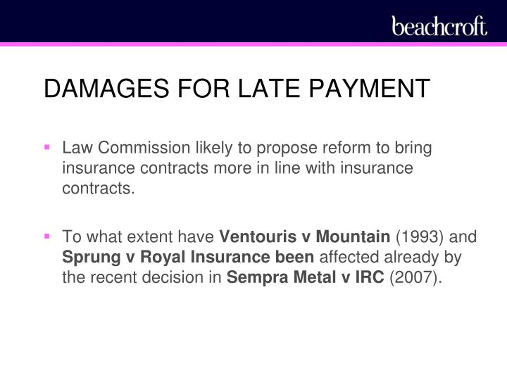 DAMAGES FOR LATE PAYMENT