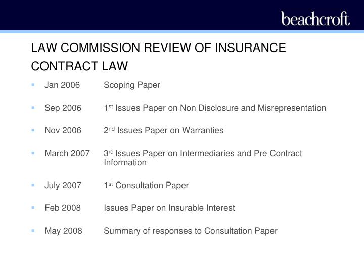 LAW COMMISSION REVIEW OF INSURANCE CONTRACT LAW