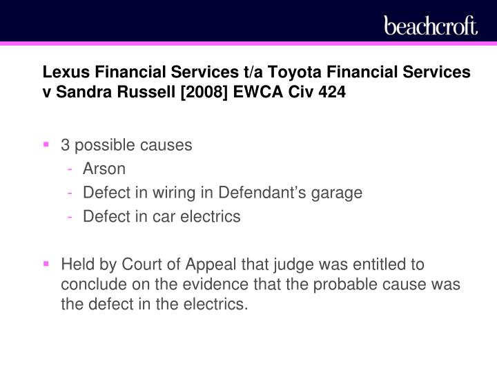 Lexus Financial Services t/a Toyota Financial Services v Sandra Russell [2008] EWCA Civ 424