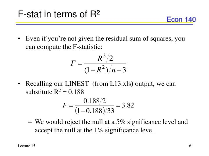 F-stat in terms of R