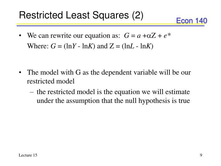Restricted Least Squares (2)