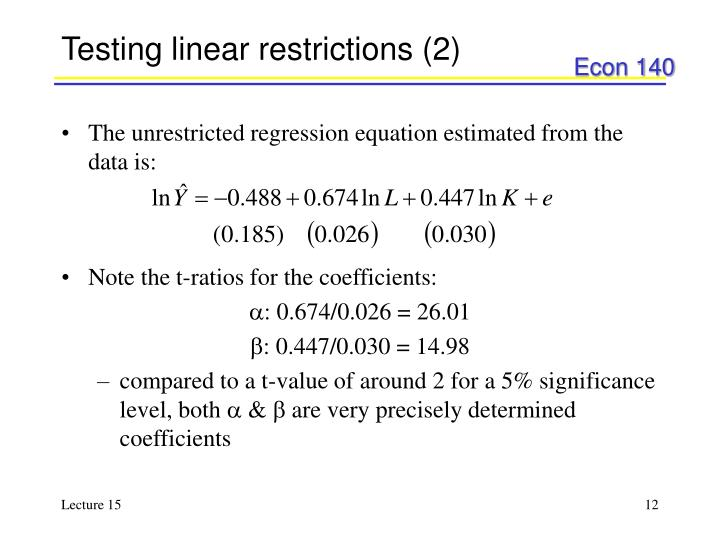 Testing linear restrictions (2)