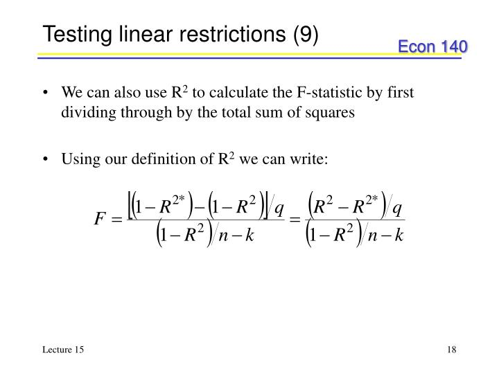 Testing linear restrictions (9)