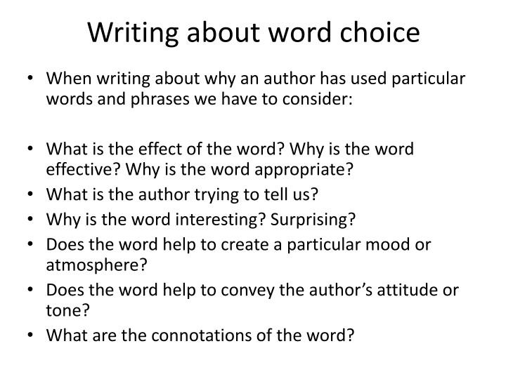 Writing about word choice